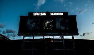 Sunrise over the new Spartan Stadium scoreboard.